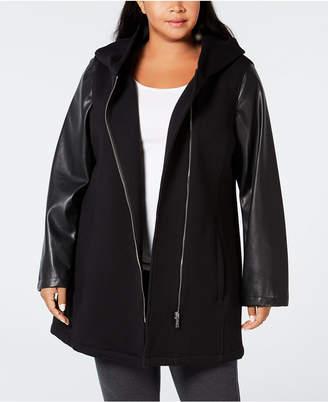Calvin Klein Plus Size Mixed-Media Moto Jacket