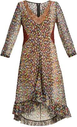 Marco De Vincenzo Multicoloured leopard-print silk-georgette dress