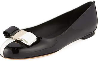 Salvatore Ferragamo Varina Colorblock Patent Leather Bow Ballet Flats
