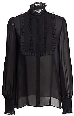 Dolce & Gabbana Dolce& Gabbana Dolce& Gabbana Women's Silk Georgette Ruffle Bib Blouse