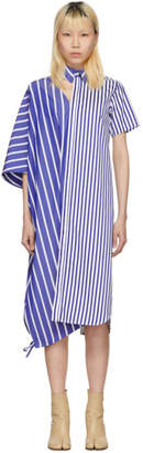 Facetasm Blue and White Striped Asymmetric Shirt Dress
