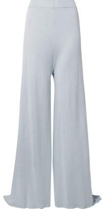 Rosetta Getty Silk And Cashmere-blend Jersey Wide-leg Pants - Sky blue