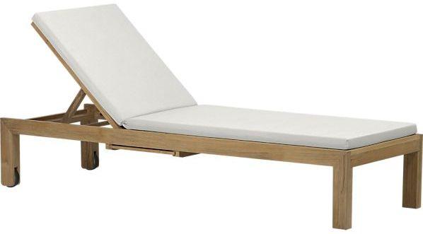Crate & Barrel Regatta Chaise Lounge with Cushion in Sunbrella: White Sand