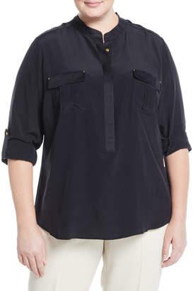 Go Silk Long-Sleeve Stud-Trim Silk Blouse, Plus Size