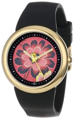 Zotos PeaceLove Unisex F36G-PLFR-B Art Dial Gold-Tone Watch with Silicone Band