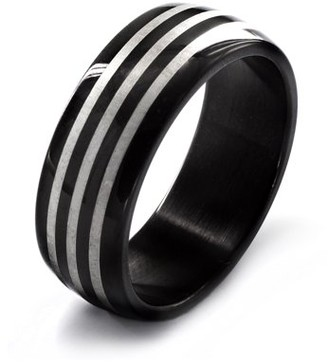 West Coast Jewelry Men's Black Plated Stainless Steel Etched Triple Striped Ring