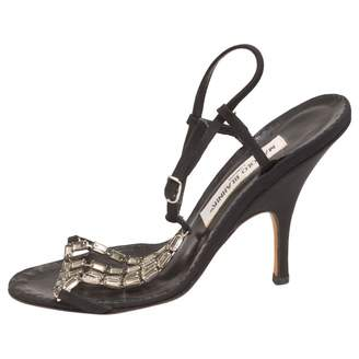 Manolo Blahnik Black Cloth Sandals