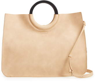BP Wood Handle Faux Leather Tote