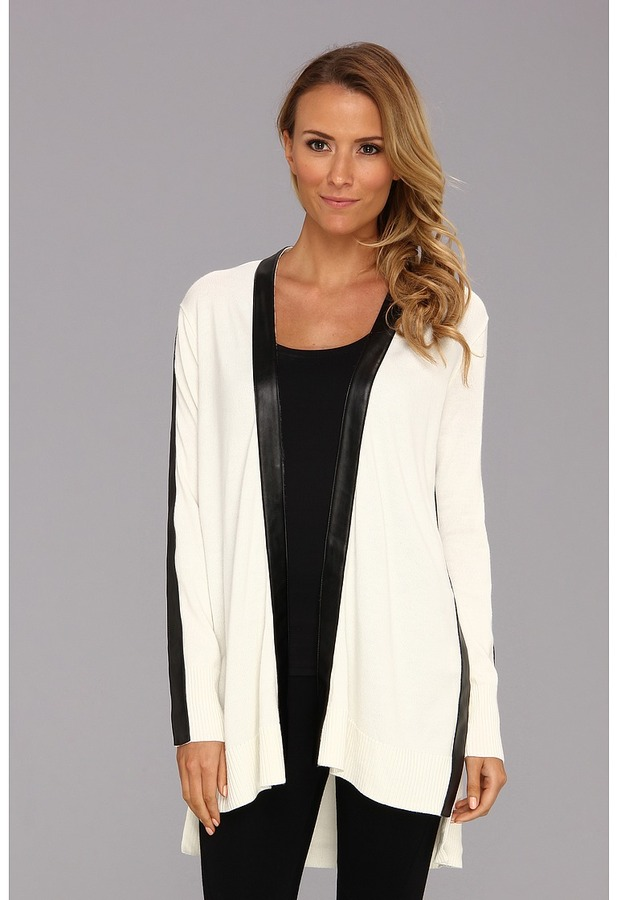 DKNY DKNYC - Long Sleeve Open Front Cardigan (Ivory) - Apparel