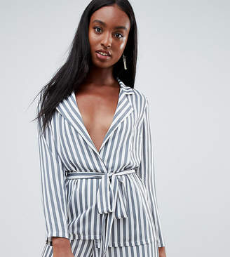 Missguided Tall Striped Belted Tailored Jacket
