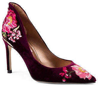 Ted Baker Saviov Embroidered Velvet Pumps