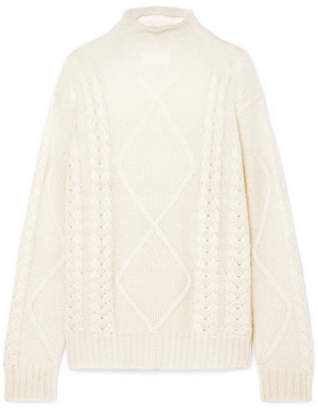 Maison Margiela Dégradé Cable-knit Mohair-blend Turtleneck Sweater - White