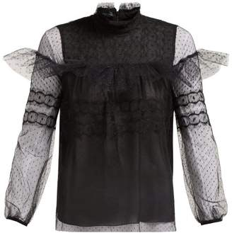 Giambattista Valli Polka Dot Tulle Ruffled Blouse - Womens - Black