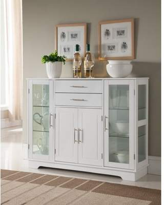 URBAN RESEARCH Pilaster Designs Elias White Wood Contemporary Kitchen Buffet Display China Cabinet With Storage Drawers & Glass