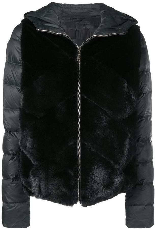 Liska mink fur padded hooded jacket