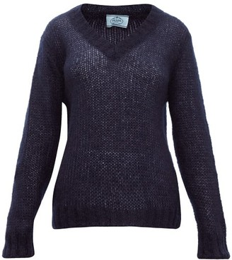 Prada V Neck Mohair Blend Sweater - Womens - Navy