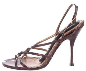 Dolce & Gabbana Leather Round-Toe Sandals