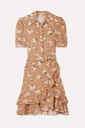 Michael Kors Belted Ruffled Floral-print Silk-georgette Mini Dress - Tan