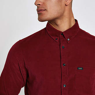 River Island Lee red long sleeve cord shirt