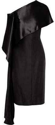Narciso Rodriguez One-Shoulder Draped Charmeuse-Paneled Silk-Crepe Dress