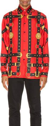 Versace Printed Long Sleeve Shirt in Red | FWRD