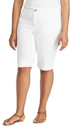 Chaps Plus Size Cuffed Twill Skimmer Shorts