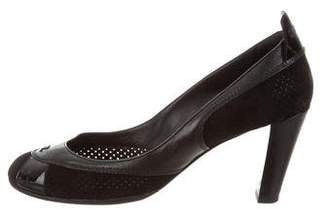 Chanel Perforated Suede Round-Toe Pumps
