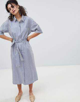 MANGO stripe midi shirt dress in multi