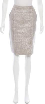 J. Mendel Metallic Pencil Skirt