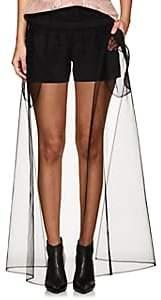J KOO Women's Tulle-Overlay Crepe Shorts-Black