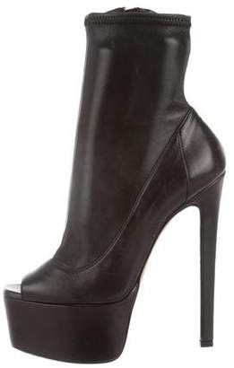 Ruthie Davis Leather Peep-Toe Ankle Boots