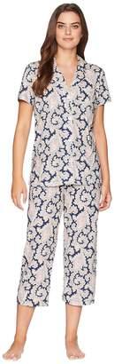 Lauren Ralph Lauren Short Sleeve Notch Collar Capri PJ Women's Pajama Sets