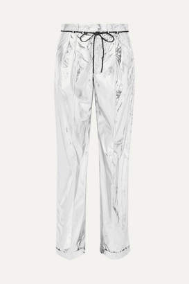 Maison Margiela Metallic Coated Shell Wide-leg Pants - Silver