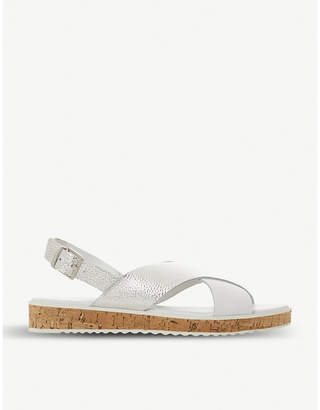 Dune Lorde cross-strap pearlescent leather sandals