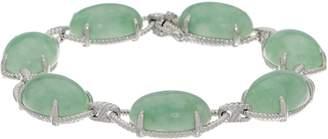 Oval Jade Sterling Silver Bold Bracelet