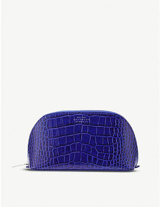 Smythson Mara crocodile-embossed leather cosmetics case