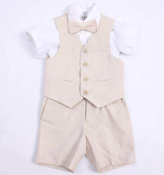 8d8d8f2a2d BEIGE baby magic dress Page Boy Linen Blend Christening Wedding Suit