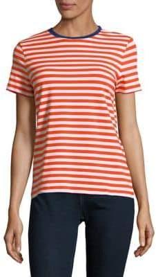 Lord & Taylor Petite Striped-Print Short-Sleeve Tee