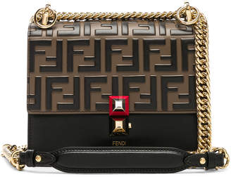 Fendi Small Logo Embossed Kan I in Black & Brown | FWRD
