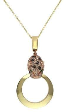 Effy Diamond and 14K Rose Gold Panther Pendant Necklace