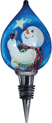 Precious Moments Ne Qwa Art Hand-Painted Blown Glass Frosty Magic Snowman Wine Stopper