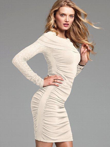 Victoria's Secret Pointelle Sleeve Cowlneck Dress