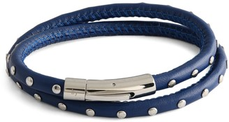 Tateossian Stainless Steel & Leather Studded Wrap Bracelet