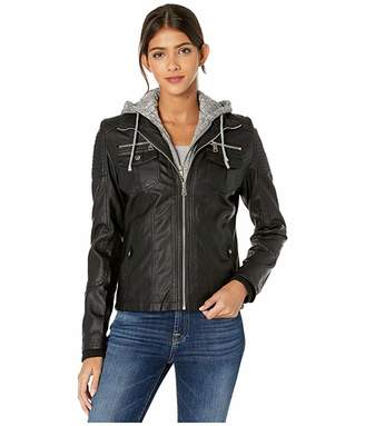 YMI Jeanswear Snobbish Faux Leather Jacket with Detachable Sweater Hood