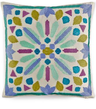 "Bluebellgray Closeout! bluebellgray Samara Crewel Embroidered 16"" Square Decorative Pillow Bedding"