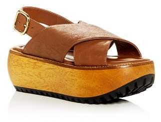Marni Women's Leather Crisscross Slingback Platform Sandals