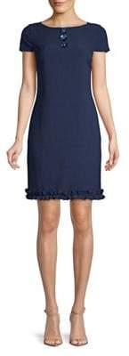 Karl Lagerfeld Paris Ruffle Crepe Sheath Dress