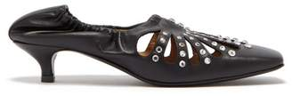 Toga Square Toe Studded Leather Kitten Heels - Womens - Black
