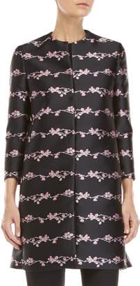 Giambattista Valli Black & Pink Floral Jacquard Coat