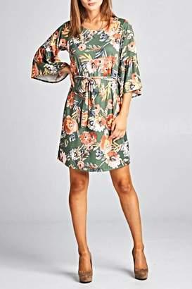 Renee C Floral Bellsleeve Dress